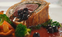 Alain Roux venison Wellington with mushroom duxelle, chicken mousse and blackcurrant sauce on Ma ...