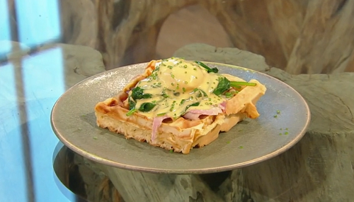 Donal Skehan Cheese and ham waffles with hollandaise sauce and poached eggs on Saturday Kitchen