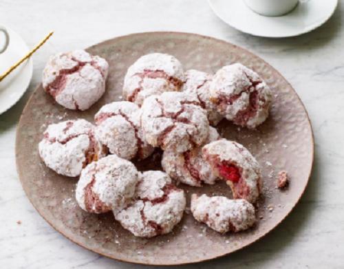 Nadiya Hussain almond and raspberry amaretti biscuits on Nadiya Bakes