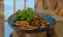 Matt Tebbutt roasted aubergine with lemongrass and ginger served with aubergine toast and lentil ...