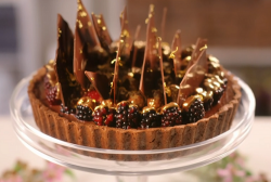 Aneesh Popat chocolate tart with water based chocolate ganache on Nadiya Bakes