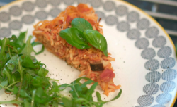 Clare and Rachel's courgette, aubergine and spaghetti slice on Eat Well For Less?