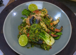 James Martin crab claws with prawns, pak choi and pesto on James Martin's Saturday Morning