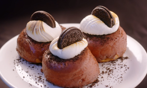 Lungi Mhlanga hazelnuts and chocolate ring doughnuts with chocolate biscuits  on Nadiya Bakes