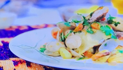john Torode fish in crispy pastry with clams, prawns and cumin on John Torode's Middle East