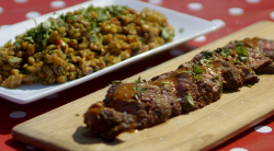 Sam and Shauna anglais steak with hoppin John on Saturday Kitchen