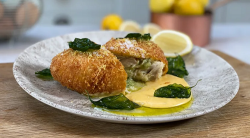 Tom Brown hake kiev with pesto butter and hollandaise on This Morning