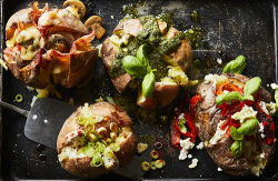 Mary Berry posh jacket potatoes with basil pesto, spring onion and soured cream , bacon and mush ...