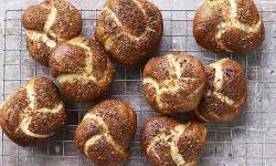 Nadiya Hussain's Onion pretzels rolls with chives and crispy fried onions on Nadiya Bakes