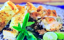 John Torode chicken with spiced aubergine, chickpeas  and toasted Egyptian cheese sandwich on Jo ...