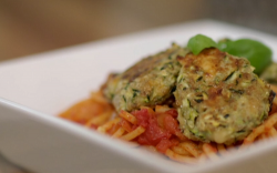 Karen and John's no-meatballs and spaghetti with courgettes and homemade tomato sauce on Eat Wel ...