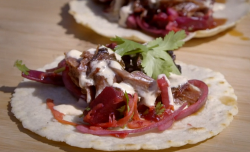 Sam and Shauna's beef tacos with Lexington red slaw with creme creole on Saturday Kitchen