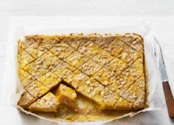Nadiya Hussain turmeric and ginger diamonds traybake with tahini on Nadiya Bakes