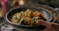 Nigella Lawson banana skin curry and cauliflower curry with cinnamon and turmeric on Nigella's C ...