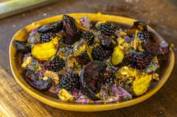 Tom Hunt Beetroot Leaf Borani with Roasted Beets and Blackberries on James Martin's Saturd ...