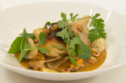 Aaron's braised hispi cabbage with mussels, hazelnuts and a Bombay potato sauce on Masterc ...