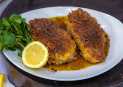 James Martin halloumi chicken schnitzel with ham and panko breadcrumbs on James Martin's S ...