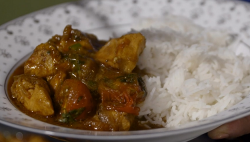 Nazu's chicken bhuna curry with rice on Our Food, Our Family with Michela Chiappa
