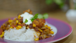 Ajaz Ahmed's veggie barbecue chilli with adzuki beans and rice on Eat Well for Less?