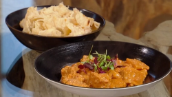 Shivi Ramoutar pumpkin curry with Trinidadian buss up shut roti on Saturday Kitchen