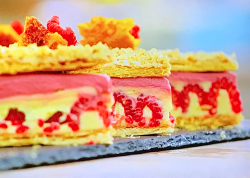 Peter's cranachan custard slice on the Great British Bake Off 2020 final