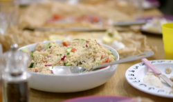 Aliyah and Ajaz Ahmed's haddock  fish parcel with green couscous salad on Eat Well for Less?