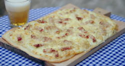 Rick Stein tarte flambee with bacon  and emmental cheese on Saturday Kitchen
