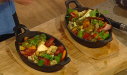 Matt Tebbutt hot cheese with roasted vegetables, bacon, watercress and croutons on Saturday Kitchen