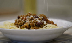 Yusuf's keema bolognese with scotch bonnet pepper and a special curry powder mix on Our Fo ...