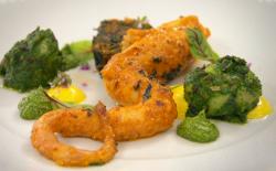 Santosh's spiced chargrilled octopus, nettle leaf and potato, taro leaf terrine, hemp seed ...