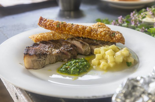 Paul Ainsworth pork chop with crackling, Bramley apple sauce and chimichurri dressing on James M ...