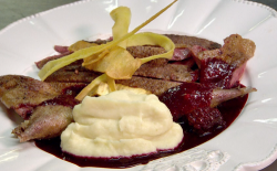 Raymond Blanc roast duck with celeriac puree and blackberry sauce on Saturday Kitchen