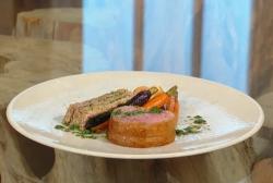 Matt Tebbutt roast saddle of lamb with anchovies, roasted carrots, chestnut mushrooms, stuffed   ...