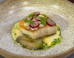 Ruth Hansom Pan Roasted Hake, Confit Artichokes, Pickled Grape, Almond and Fennel Broth on James ...