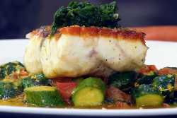 James Martin sea bass with courgettes and Bottarga cured fish roe on James Martin's Saturd ...