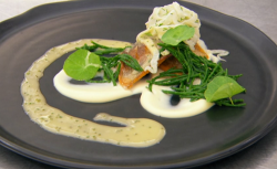 Burhan's pan fried fillet of rainbow trout with cauliflower puree samphire fennel salad an ...