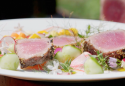 James Martin BBQ Seared Tuna with Kohlrabi, carrots, cucumber and courgette on James Martin̵ ...