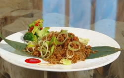Ching's veggie ants climbing trees with soya mince on Saturday Kitchen