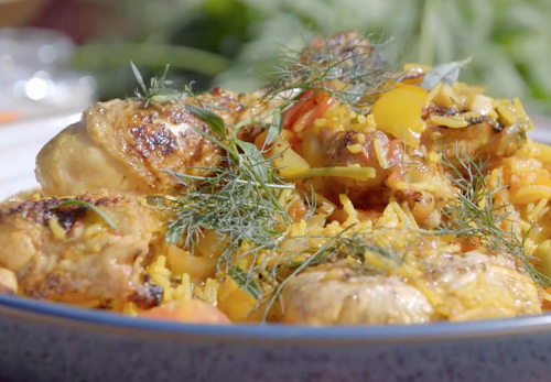 James Martin Spanish Style BBQ Chicken with Romano peppers, saffron and rice on James MartinR ...