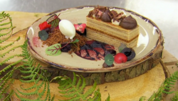Alex's black forest gateau with a layered sponge, cherry jam and creme fraiche ice cream o ...