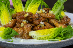 James Martin Chicken Wings with Little Gem lettuce and Blue Cheese Dressing on James Martin̵ ...