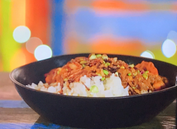 Dean Edwards chickpea and tomato curry with a coconut and ginger pilau rice on Chef vs Corner Shop