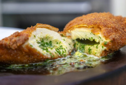 James Martin Chicken Kiev with Steamed Purple Sprouting Broccoli and a Mustard Dressing on James ...