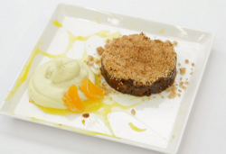 Spencer Matthews Christmas mince crumble with a vanilla cream diplomat and clementine sauce on C ...