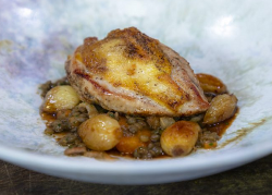 Michael Caines roast pheasant with lentils, Button onions and lardons on James Martin's Sa ...