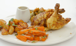 Amar Latif tandoori poussin with chilli roast potatoes, pickled sprouts, carrots and his mumR ...