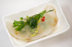 Dave's prawn and ginger dim sum with a red wine vinegar sauce on Masterchef The profession ...