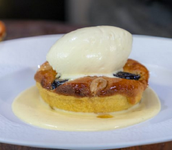 James Martin prune, rum and almond tart with rum flavoured whipped cream and custard on James Ma ...