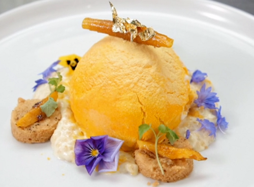 Santosh's rice pudding with shortbread, sorbet and a mango mousse on MasterChef The Profes ...
