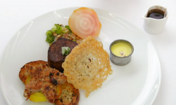 Craig Revel Horwood's beef fillet with satay potatoes, pork and cranberry stuffing, sprout ...